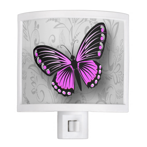 Whimsical pink black and white butterfly on gray f night light