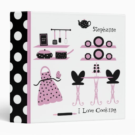 Whimsical Pink, Black, & White Polka Dot Recipe 3 Ring Binders