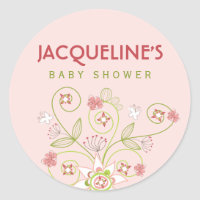 Whimsical Pink Blooms Girl Baby Shower Sticker