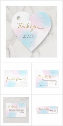 WHIMSICAL PINK & BLUE WATERCOLOR WEDDING