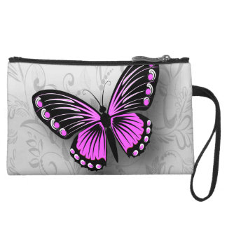 Whimsical Pink Butterfly on Gray Floral Wristlet