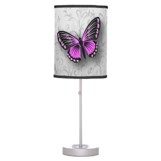 Whimsical Pink Butterfly on Gray Floral Desk Lamp