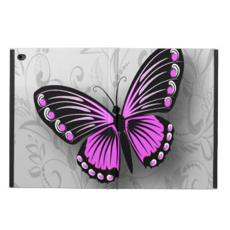 Whimsical pink butterfly on gray floral powis iPad air 2 case