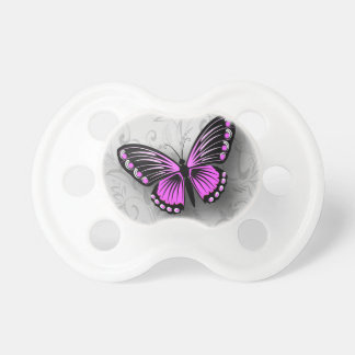 Whimsical Pink Butterfly on Gray Floral Pacifier