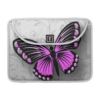 Whimsical Pink Butterfly on Gray Floral Sleeves For MacBook Pro