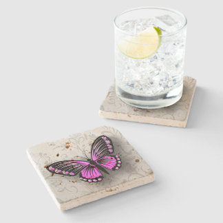 Whimsical Pink Butterfly on Gray Floral Stone Coaster
