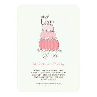 Whimsical Pink Cake Baby Girl 1st Birthday Party Card