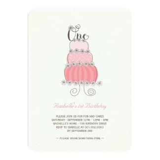 """Whimsical Pink Cake Baby Girl 1st Birthday Party 4.5"""" X 6.25"""" Invitation Card"""