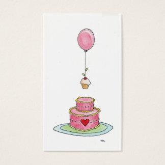 Whimsical Pink Cake Balloon  & Cupcake Business Card