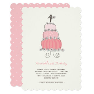 Whimsical Pink Cake Girl 4th Birthday Party Invite