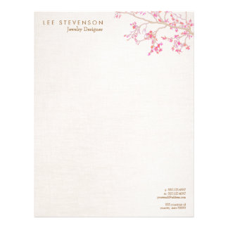 Whimsical Pink Cherry Blossoms Nature Letterhead