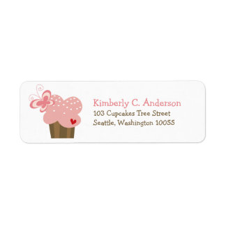 Whimsical Pink Cupcake Butterfly Girl Birthday Return Address Label