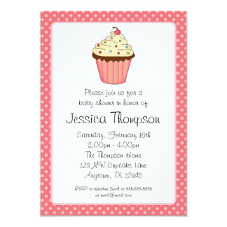 Whimsical Pink Cupcake Polka Dot Girl Baby Shower 5x7 Paper Invitation Card