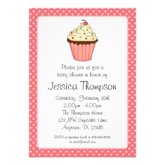 Whimsical Pink Cupcake Polka Dot Girl Baby Shower Announcement