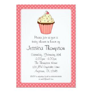 Whimsical Pink Cupcake Polka Dot Girl Baby Shower Announcement