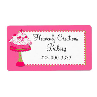 Whimsical Pink Cupcakes Custom Bakery Label
