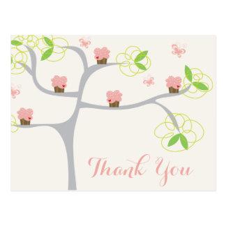 Whimsical Pink Cupcakes Tree Birthday Thank You Postcard