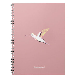 Whimsical Pink cute elegant feminine hummingbirds Notebook