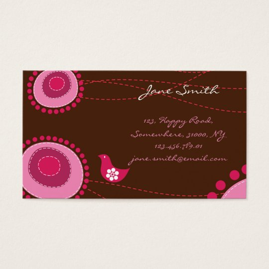 Whimsical Pink Dots Flowers Birds Chic Trendy Cute Business Card