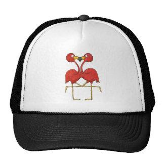 Whimsical Pink Flamingo Couple Love Happy Hats
