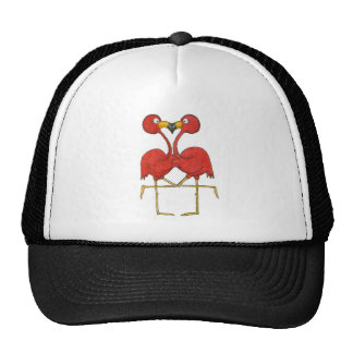 Whimsical Pink Flamingo Couple Love Happy Trucker Hat
