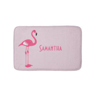 Whimsical Pink Flamingo Custom Bath Mat