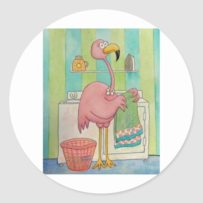 Whimsical Pink Flamingo Does Laundry Cute Classic Round Sticker