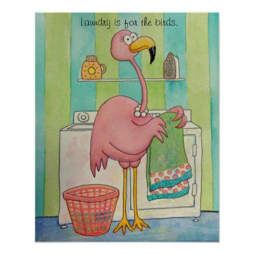 Whimsical Pink Flamingo Does Laundry Cute Posters