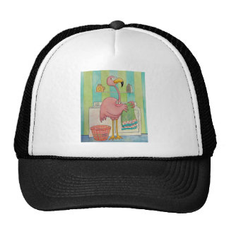 Whimsical Pink Flamingo Does Laundry Cute Trucker Hat
