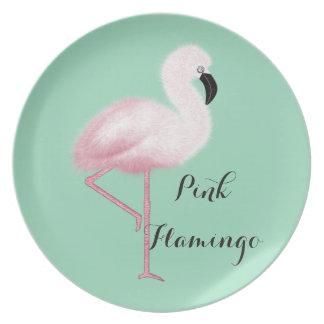 Whimsical Pink Flamingo Melamine Plate