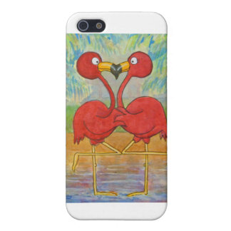 Whimsical Pink Flamingo Pair on Beach Island Art Case For iPhone 5/5S