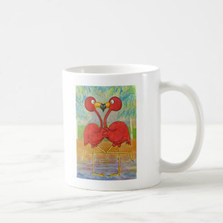 Whimsical Pink Flamingo Pair on Beach Island Art Coffee Mug