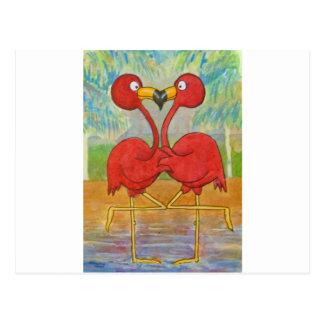 Whimsical Pink Flamingo Pair on Beach Island Art Postcard