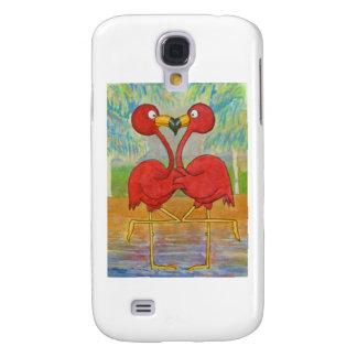Whimsical Pink Flamingo Pair on Beach Island Art Samsung Galaxy S4 Cover