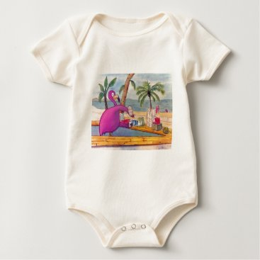 Beach Themed Whimsical Pink Flamingo Pours Party Drinks Beach Baby Bodysuit
