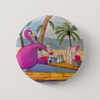 Whimsical Pink Flamingo Pours Party Drinks Beach Button