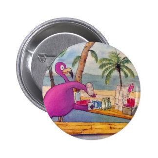 Whimsical Pink Flamingo Pours Party Drinks Beach 2 Inch Round Button