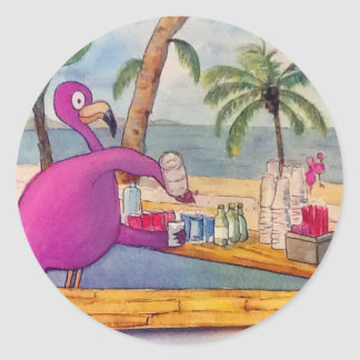 Whimsical Pink Flamingo Pours Party Drinks Beach Classic Round Sticker