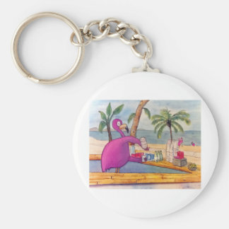Whimsical Pink Flamingo Pours Party Drinks Beach Keychain