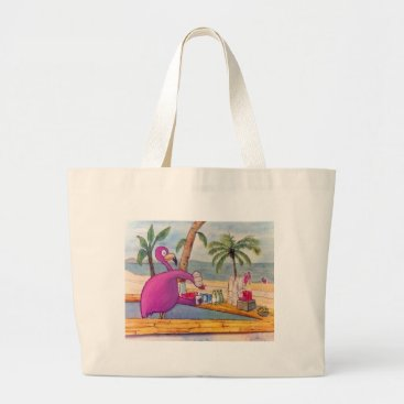 Beach Themed Whimsical Pink Flamingo Pours Party Drinks Beach Large Tote Bag