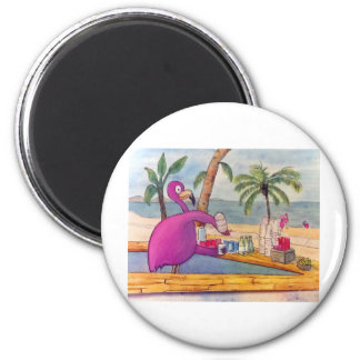Whimsical Pink Flamingo Pours Party Drinks Beach Refrigerator Magnets