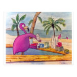 Whimsical Pink Flamingo Pours Party Drinks Beach Post Card