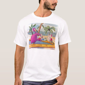 Whimsical Pink Flamingo Pours Party Drinks Beach T-Shirt