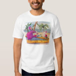 Whimsical Pink Flamingo Pours Party Drinks Beach Tee Shirt