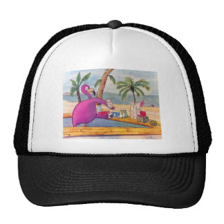 Whimsical Pink Flamingo Pours Party Drinks Beach Trucker Hat