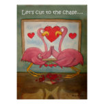 Whimsical Pink Flamingos Heart Love Kerra Lindsey Print