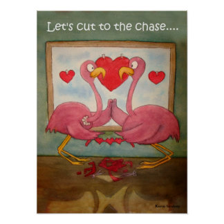 Whimsical Pink Flamingos Heart Love Kerra Lindsey Poster
