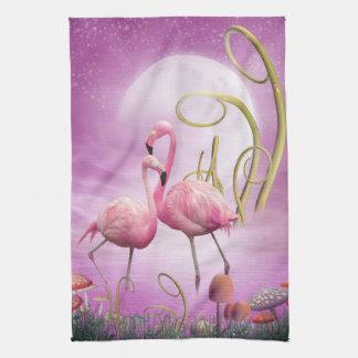 Whimsical Pink Flamingos Kitchen Towel