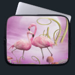 "Whimsical Pink Flamingos Laptop Sleeve<br><div class=""desc"">Whimsical and trendy pretty Alice in Wonderland pink flamingo laptop sleeve with two beautiful elegant pink flamingos standing in front of a huge full moon in a magical setting. A stylish, modern, chic gift for women, teenage girls and children. Some elements from http://beecreation1.blogspot.com If you need any assistance customizing your...</div>"