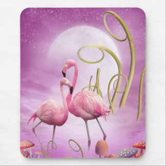 Whimsical Pink Flamingos Mousepad